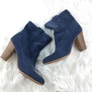 B. Makowsky Suede Pull-on Stacked Heel Ankle Boots